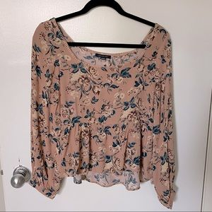 American Eagle Floral Crop Long Sleeve Tunic